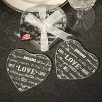 Heart Shaped Glass Wedding Coaster Favors