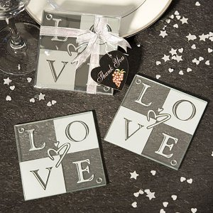 Glass LOVE Coasters Wedding Favor (Set of 2) image