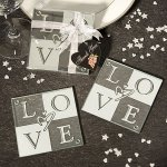 Glass LOVE Coasters Wedding Favor (Set of 2)