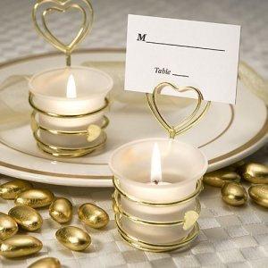 Swirled Hearts Gold Place Card Holder & Votive Cup image