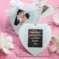 Heart Design Glass Photo Coaster Set