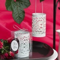 White Filigree Design Luminary Favor