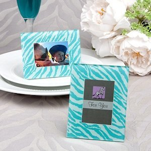 Aqua Blue Zebra Pattern Place Card Holder/Picture Frames image