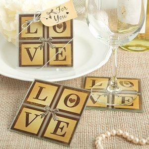 Vintage Love Themed Glass Coaster Wedding Favors image
