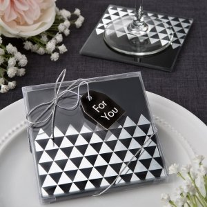 Geometric Design Glass Coaster Favors image