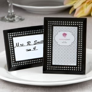 Black Frosted Glass Picture Frame Placecard Holder image