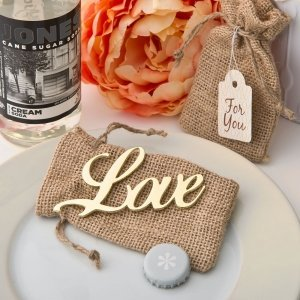Shabby Chic Gold Love Bottle Opener Favors image