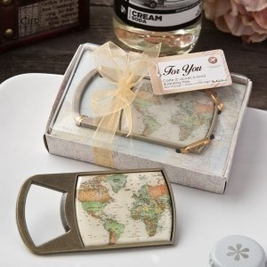 Vintage Travel Themed Map Design Bottle Opener Favor image