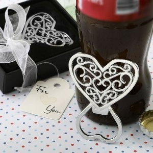 Filigree Heart Design Chrome Metal Bottle Openers image