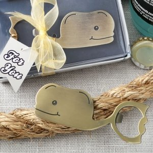 Fun Whale Themed Brass Finished Metal Bottle Openers image