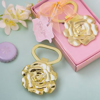 Champagne Gold Rose Bottle Opener Favor image