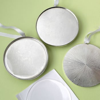 Perfectly Plain 3 Inch Silver Metal Ornament Favor image