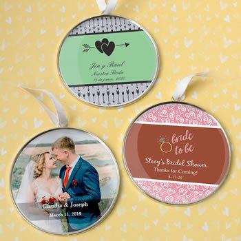 Personalized Wedding 3 Inch Silver Metal Ornament image
