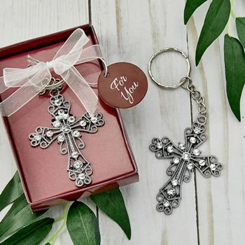 Silver cross with stones key chain image