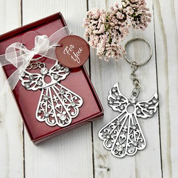 Silver angel with stones key chain image