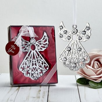 Silver angel ornament with stones image