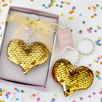 Gold / silver sequin heart key chain image