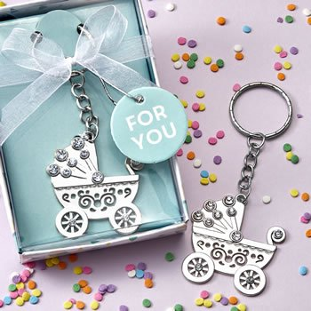 OH Baby design silver metal baby carriage key chain image