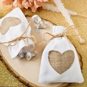 Rustic Heart Shabby Chic White Cotton Favor Bags image