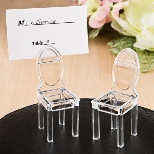 Miniature Clear Acrylic Formal Reception Chair Place Card Ho image