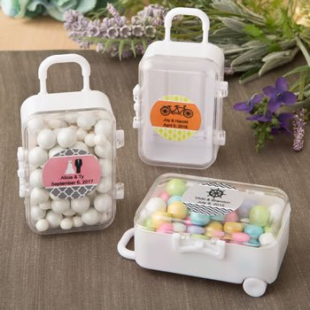 Personalized Wedding Travel Themed Mini Suitcase Containers image