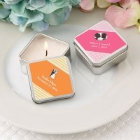 Personalized Expressions Square Silver Travel Candle Tin Fav