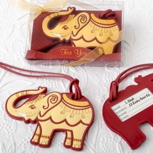 Adorable Ruby Red And Cream Elephant Luggage Tag Favors image