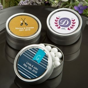 Monogram Collection Round Silver Mint Tins image