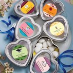 Personalized Heart Shaped Silver Wedding Tins