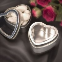 Heart-Shaped Silver Mint Favor Tins