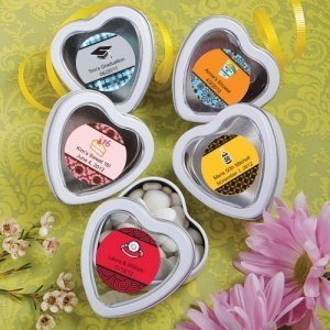Personalized Themed Heart Shaped White Mint Tins image