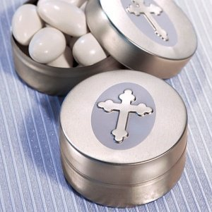 Cross Design Mint Tin - Silver image