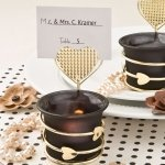 Black and Gold Heart Place Card Votive Holders