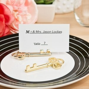 Ornate Shiny Gold Skeleton Key Place Card Holders image