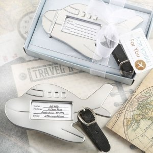 Adorable Silver Metal Airplane Luggage Tag Favors image