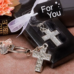 Lustrous Cross Key Chain Favors image