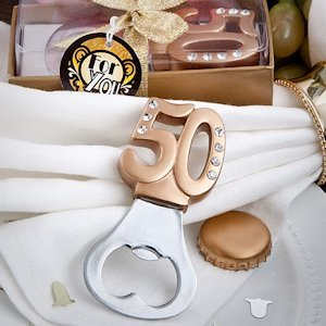 Golden 50 Anniversary Favor Bottle Openers image