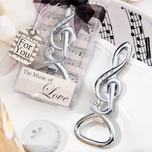 Silver Musical Note Bottle Opener Wedding Favors image