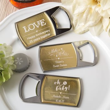 Personalized Metallics Collection Bottle Opener Favors image