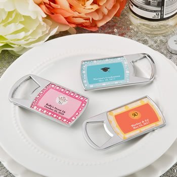 Personalized Special Occasion Chrome Silver Bottle Openers image