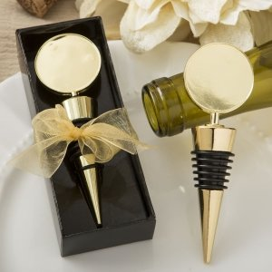 Perfectly Plain Collection Gold Metal Wine Bottle Stopper Fa image
