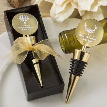 Personalized Metallic Wedding Gold Metal Wine Bottle Stopper image