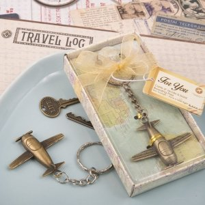Vintage Brass Airplane Design Key Chain Favors image