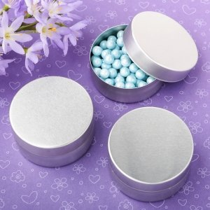 Perfectly Plain Collection Brushed Silver Mint Tin Favors image