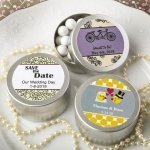 Personalized Wedding Expressions Brushed Silver Mint Tins