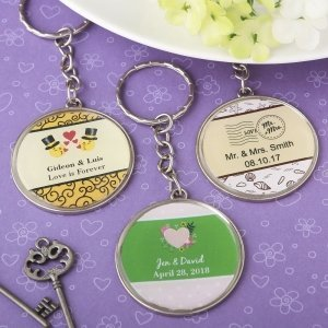 Personalized Expressions Epoxy Dome Metal Key Chain Wedding image