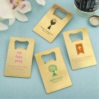 Personalized Brushed Gold Credit Card Bottle Openers