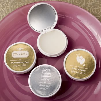 Personalized Metallic Wedding Vanilla Lip Balm Compacts image