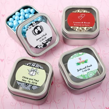 Personalized Expressions Clear Top Wedding Mint Tin Favors image