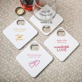 Personalized Anniversary Coaster Bottle Opener Duo Favor image